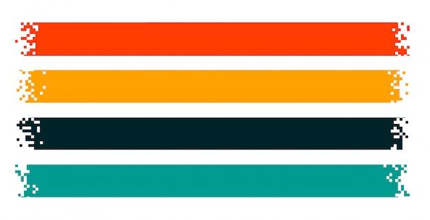 Pixelbänder oder breite pixelige banner im 4er-set Kostenlosen Vektoren