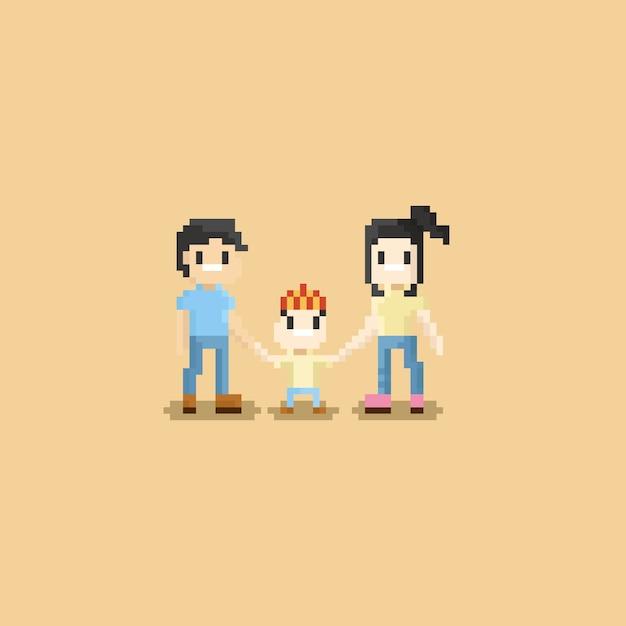 Pixelfamilie Premium Vektoren