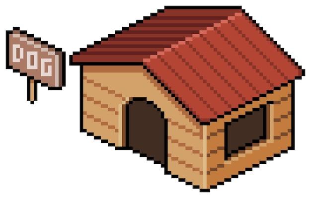 Pixelkunst-hundehausgebäude für bit-spiel auf weißem hintergrund Premium Vektoren