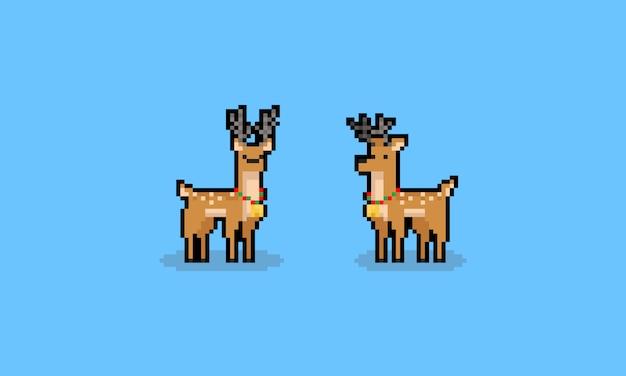 Pixelkunst-karikaturweihnachtsregen-rotwildcharaktere Premium Vektoren