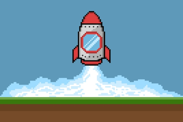 Pixelkunst-raketenstart, vektorillustration Premium Vektoren