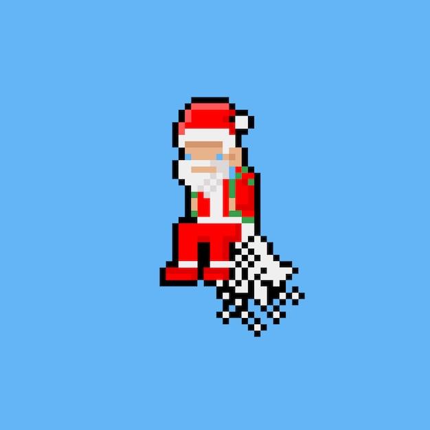 Pixelkunstkarikatur, die weihnachtsmann mit jetpack fliegt Premium Vektoren