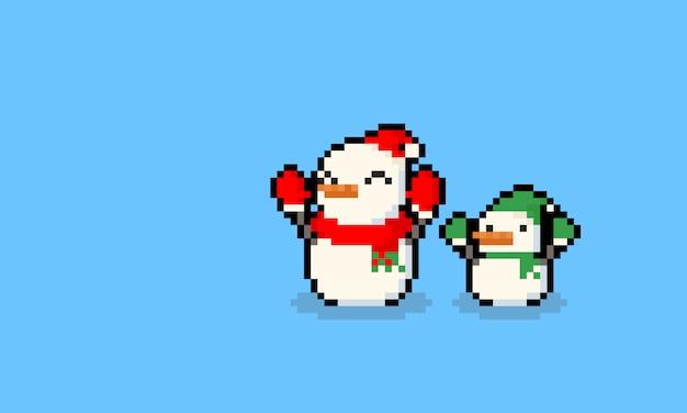Pixelkunstkarikatur-sankt-schneemann und elfencharakter. Premium Vektoren