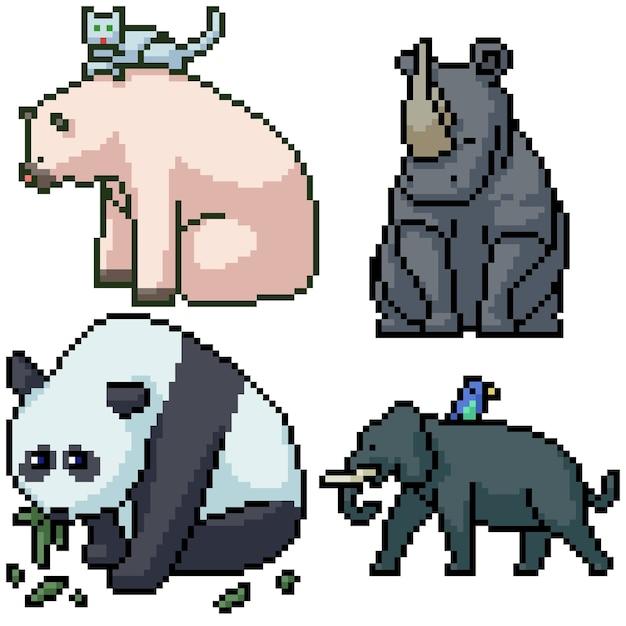 Pixelkunstsatz isolierte großes säugetier Premium Vektoren