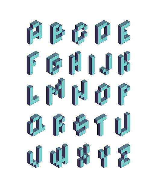 Pixelschrift. isometrische videospiel alphabet retro-stil 90er jahre kubische buchstaben vektor 3d. pixelspiel alphabet, typografie schriftart illustration Premium Vektoren