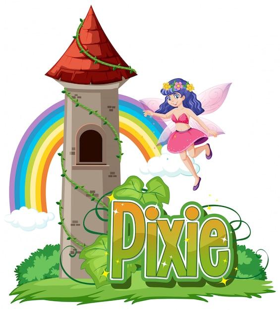Pixie-logo mit kleinen feen auf weißem hintergrund Kostenlosen Vektoren
