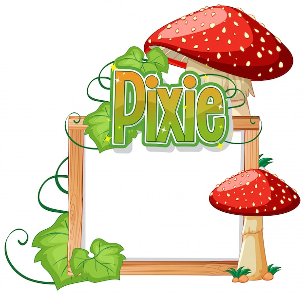 Pixie-logos mit leerem rahmen Kostenlosen Vektoren