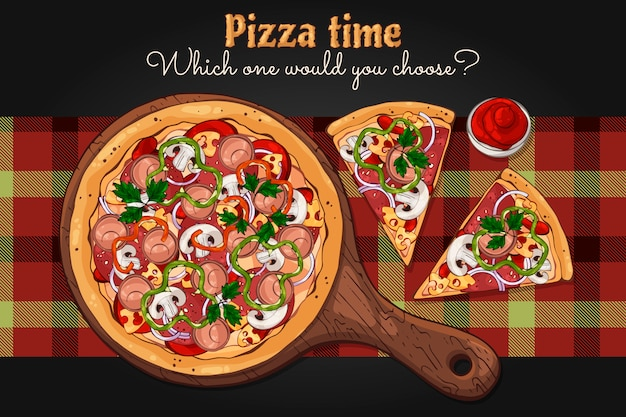 Pizza auf einem brett. Premium Vektoren