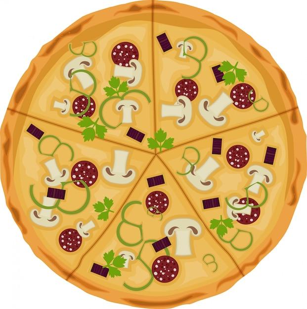 Pizza auf einem weißen hintergrund Premium Vektoren