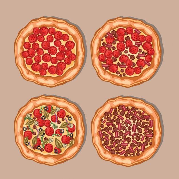 Pizza-auflistung Premium Vektoren
