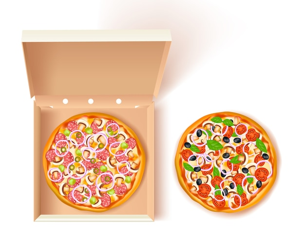 Pizza box zusammensetzung Kostenlosen Vektoren