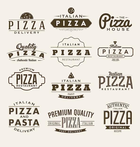 Pizza etiketten-sammlung Kostenlosen Vektoren