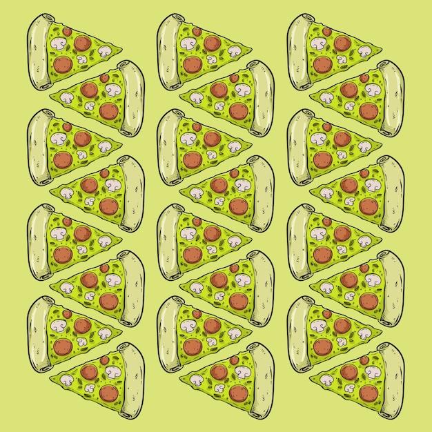 Pizza fast-food-muster seamles design hintergrund Premium Vektoren