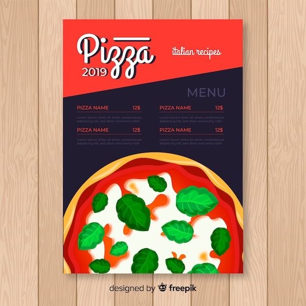 Pizza-flyer Kostenlosen Vektoren