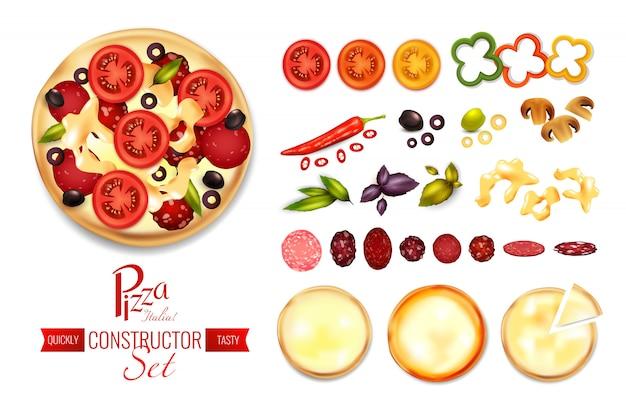 Pizza füllstoff konstruktor set Kostenlosen Vektoren