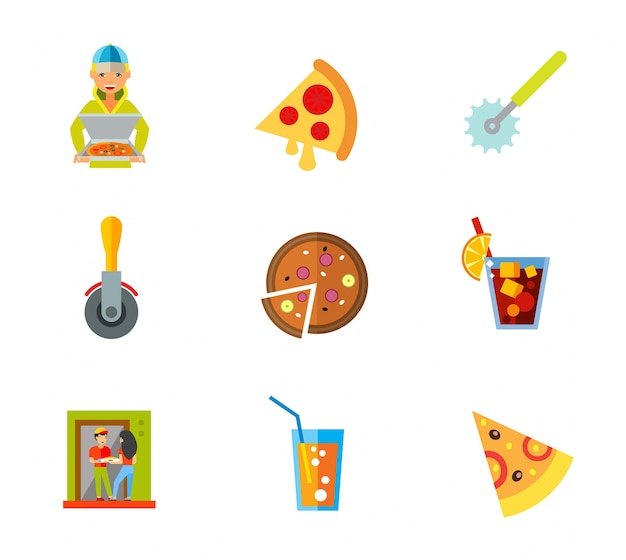 Pizza icon set Kostenlosen Vektoren
