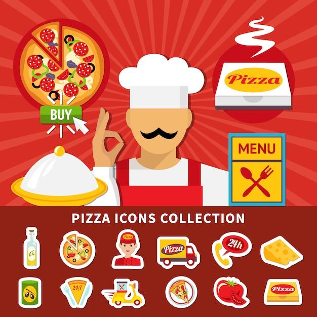 Pizza icons emoji sammlung Kostenlosen Vektoren