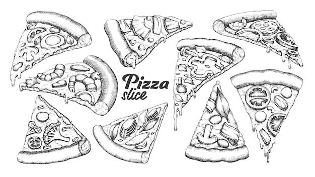 Pizza in scheiben schneiden Premium Vektoren