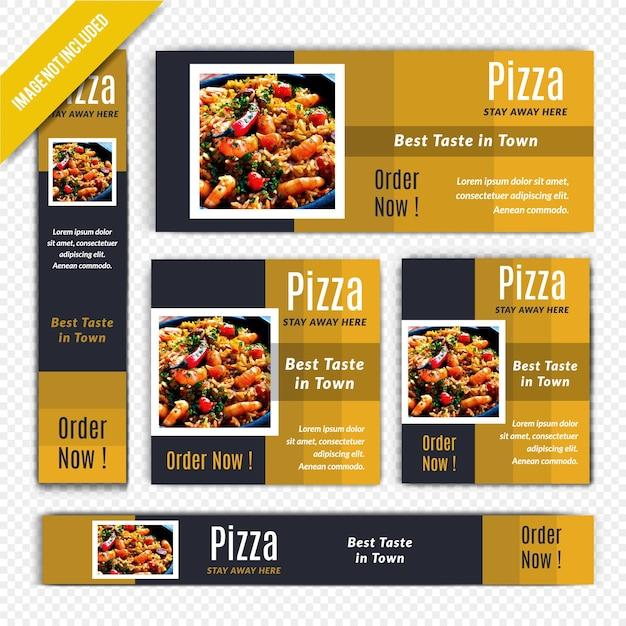 Pizza-lebensmittel-netz-fahnen-satz für restaurant Premium Vektoren