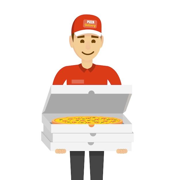 Pizza lieferbote Premium Vektoren