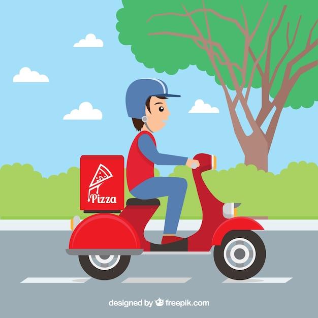 pizza lieferung auf roller mit flachem design download der kostenlosen vektor. Black Bedroom Furniture Sets. Home Design Ideas