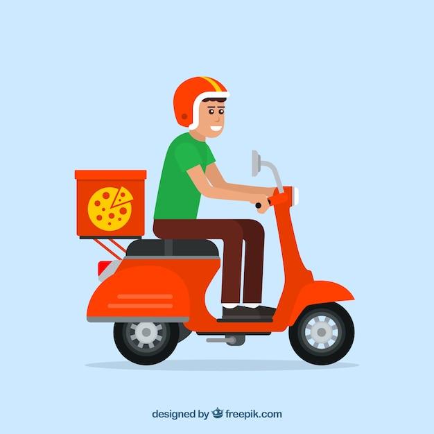 pizza lieferung mann mit roller und helm download der kostenlosen vektor. Black Bedroom Furniture Sets. Home Design Ideas