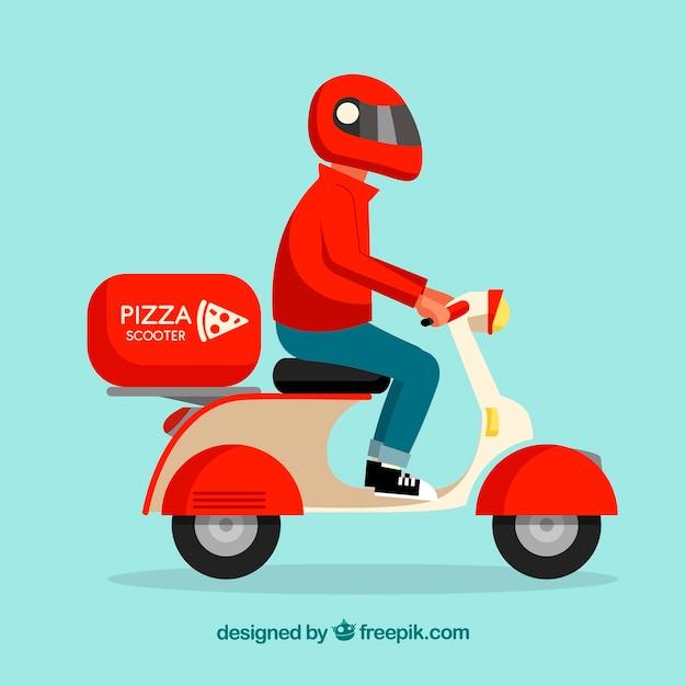 Pizza lieferwagen mit roller und helm Kostenlosen Vektoren