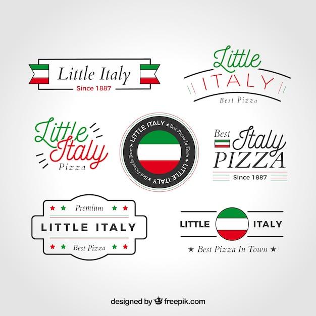 Pizza-logo-kollektion Kostenlosen Vektoren