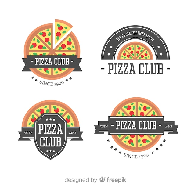 Pizza-logo-sammlung Kostenlosen Vektoren