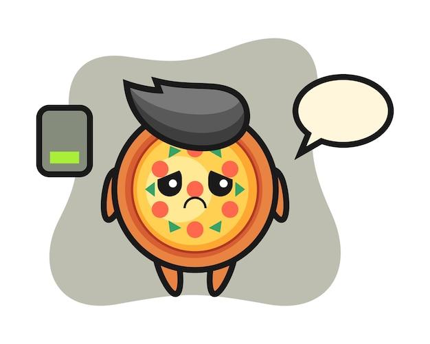 Pizza maskottchen charakter macht eine müde geste Premium Vektoren