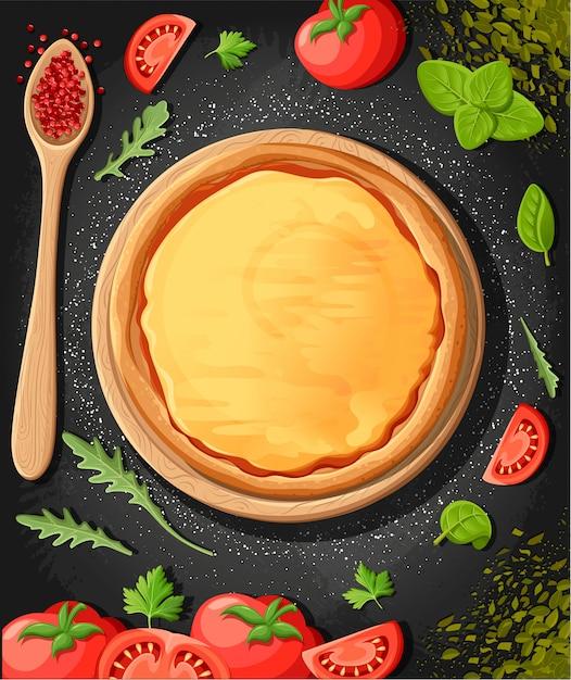 Pizza menü tafel cartoon hintergrund mit frischen zutaten illustration pizzeria flyer hintergrund. zwei horizontale banner mit zutaten text auf holzhintergrund und tafel. Premium Vektoren