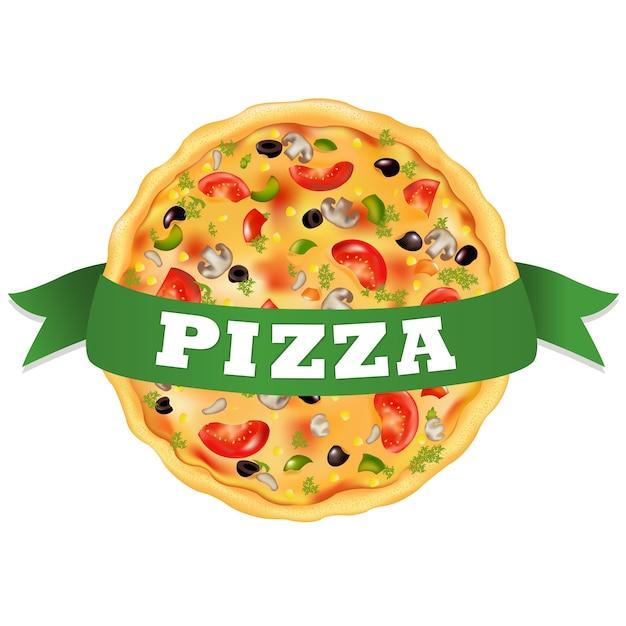 Pizza mit grünem klebeband, auf weißem hintergrund, illustration Premium Vektoren