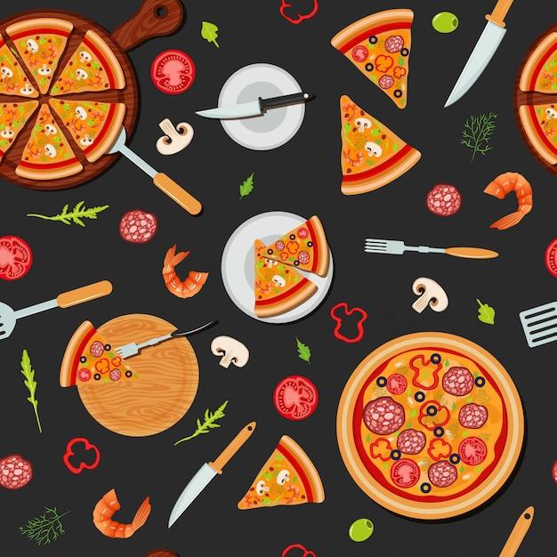 Pizza-nahtloses muster mit bestandteilen Premium Vektoren