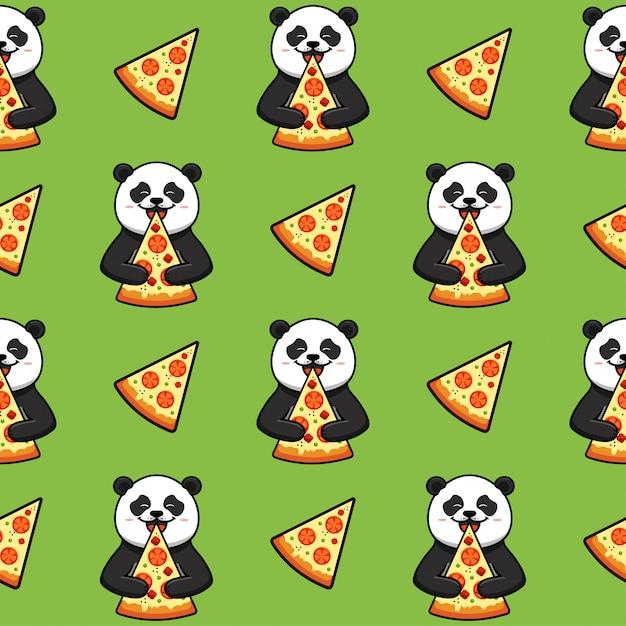 Pizza nahtloses muster, textur, druck, oberfläche mit panda. italienisches essen Premium Vektoren