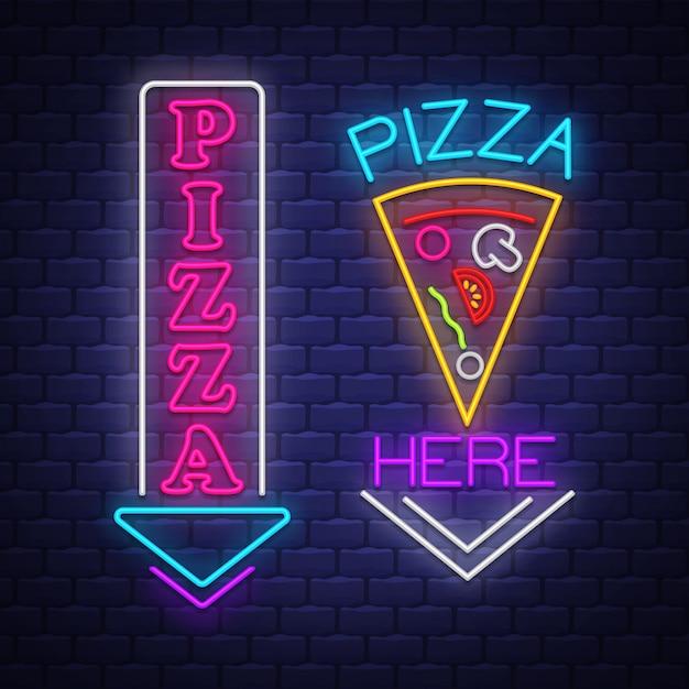 Pizza-neonzeichen-sammlung Premium Vektoren
