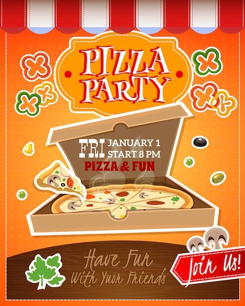 Pizza-party-plakat Kostenlosen Vektoren