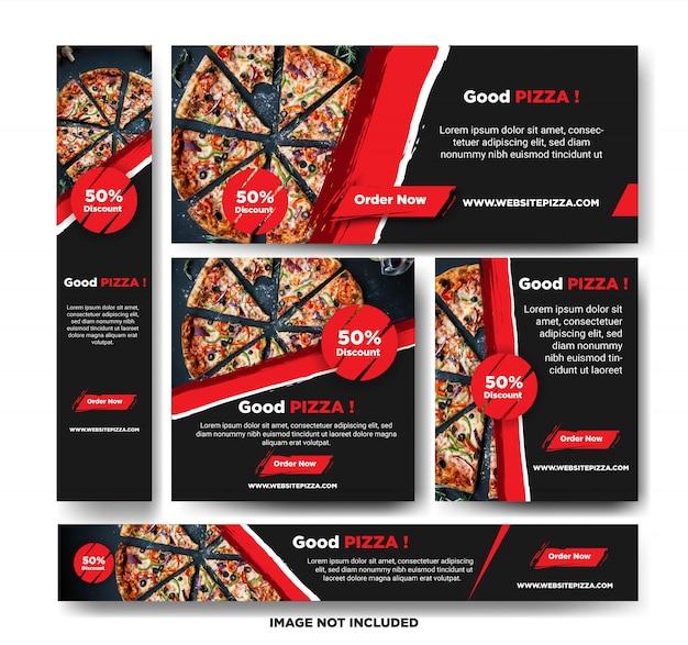 Pizza promotion banner vorlage Premium Vektoren