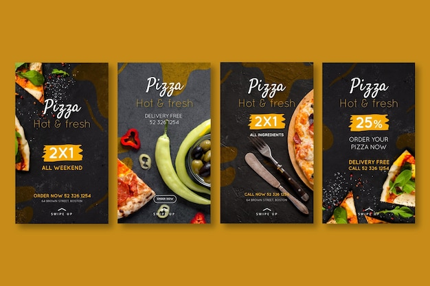 Pizza restaurant instagram geschichten Premium Vektoren