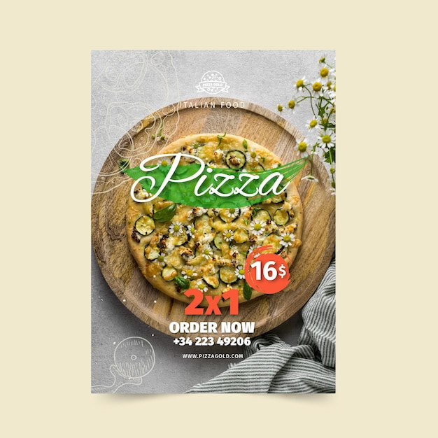 Pizza restaurant poster vorlage Kostenlosen Vektoren