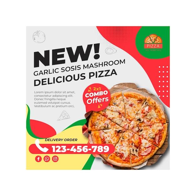 Pizza restaurant quadratische flyer vorlage Premium Vektoren
