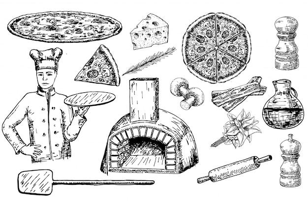 Pizza set mit zutaten und küchenutensilien und backofen. Premium Vektoren