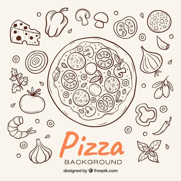 Pizza skizze hintergrund und zutaten Kostenlosen Vektoren