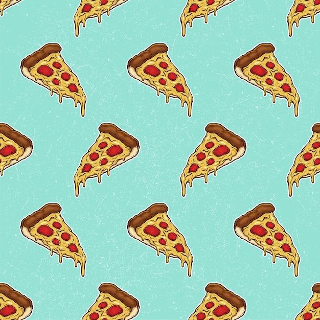 Pizza slice mit geschmolzenem käse und pepperoni-muster hand gezeichnete illustration Premium Vektoren