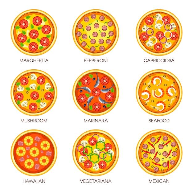 Pizza sortiert vektorikonenschablonen für italienische pizzaküche oder schnellimbissmenü Premium Vektoren