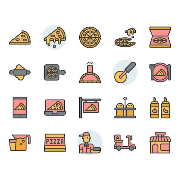 Pizza-symbol und symbolsatz Premium Vektoren