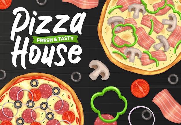 Pizza und pizzeria, italienisches restaurant oder fast-food-menü, poster. Premium Vektoren