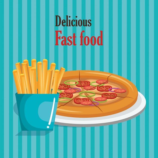Pizza und soda fast food Kostenlosen Vektoren