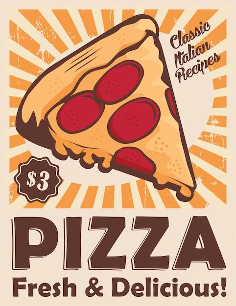 Pizza vintage beschilderung poster rustikal Premium Vektoren