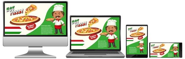 Pizza-werbung auf elektronischen geräten Kostenlosen Vektoren