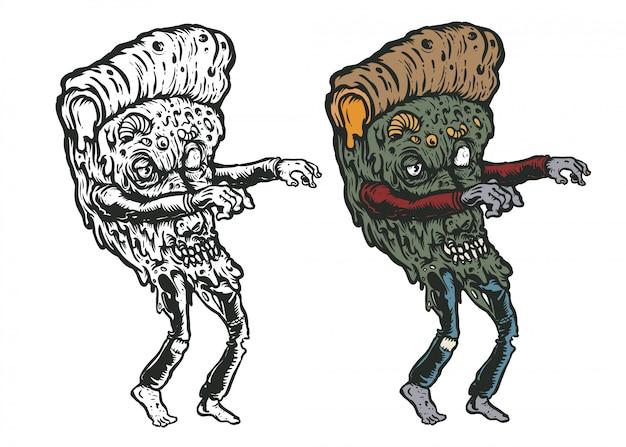 Pizza zombie kunst illustration Premium Vektoren